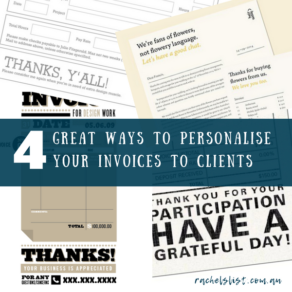 4 great ways to personalise your invoices to clients