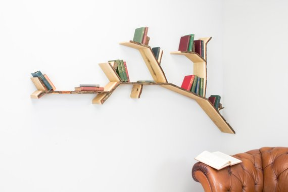 put your books on a shelf shaped like a tree