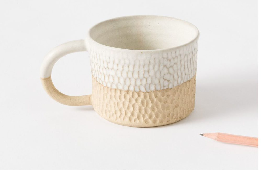 hammered ceramic mug