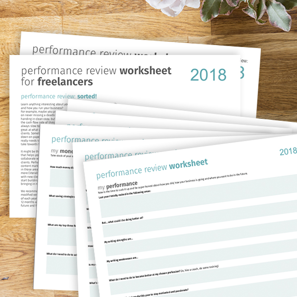 Worksheet for freelancers needing a performance review