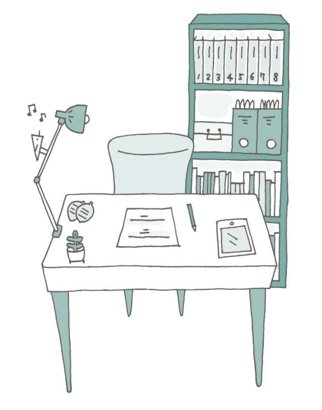 illustration of a tidy desk and home office