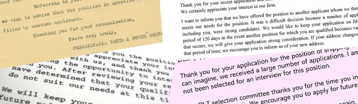 Rejection without dejection (and three rejection letters to cut and paste)