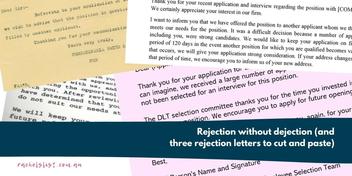 Thank You Letter After Rejection Without Interview from www.rachelslist.com.au