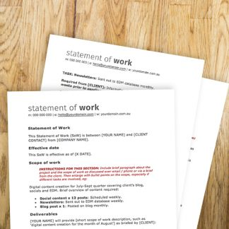Freelancer statement of work template